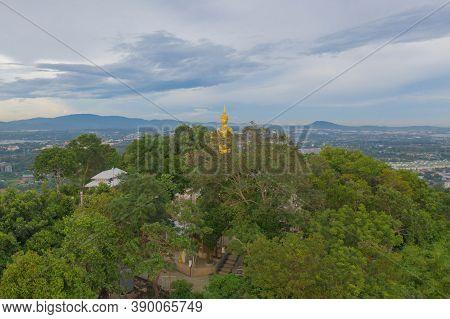 Aerial View Of Big White Buddha In Wat Khao Phra Kru Temple, Si Racha District, Chonburi, Thailand.