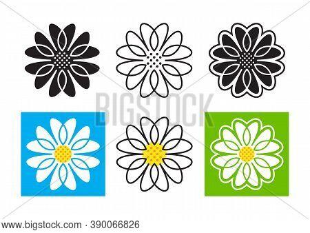 Daisies Icons Set. Daisy Emblem Chamomile Logo. Vector Illustration