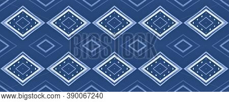 Indigo Ethnic Ornament. Seamless African Tile Design. Blue Watercolor Native Border. Drawn By Pen Ik