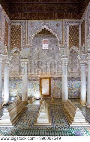 Marrakesh, Morocco - 13 October, 2019: Saadian Tombs Of Marrakesh, Morocco. The Chamber Of The Twelv