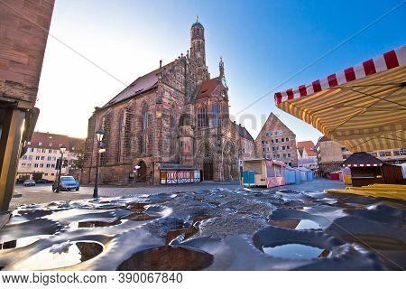 Nurnberg. Church Of Our Lady Or Frauenkirche In Nuremberg Main Square View, Bavaria Region Of German