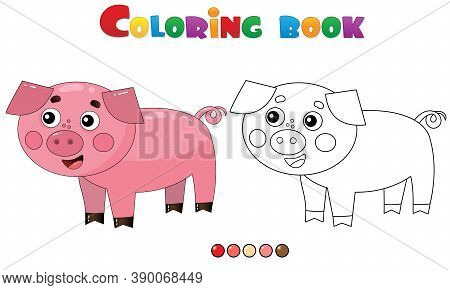 Coloring Page Outline Of Cartoon Pig Or Swine. Farm Animals. Coloring Book For Kids.