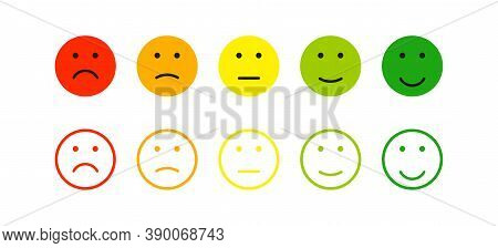 Mood Feedback Smile In Flat Style. Expression Emotion, Vector