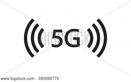 5g Connection Black Icon. Internet Signal Signal. Isolated Vector