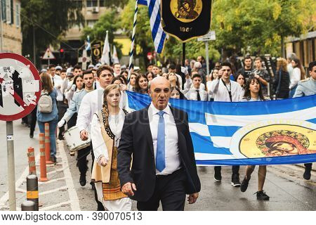 Nicosia, Cyprus-october 28, 2019: High School Students From Different Schools In Uniform And Nationa