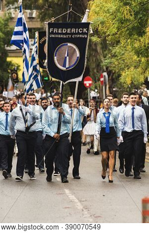 Nicosia, Cyprus-october 28, 2019: High School Students From Different Schools In Uniform Participate