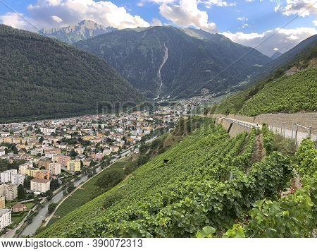 Martigny, Switzerland - August 2, 2019: Terraced Vineyards Above Martigny In Valais Switzerland