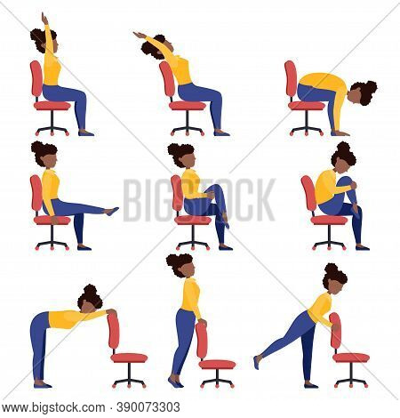Set Of Black Girls Doing Office Chair Yoga. Bundle Of Women Workout For Healthy Back, Neck, Arms, Le