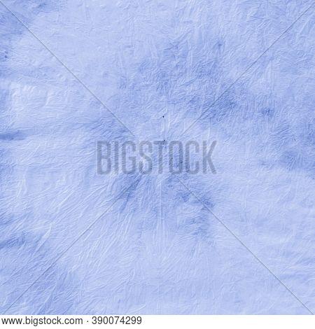 Tie Dye Batik. Blue Vintage Roll Effect. Watercolour Poster. Clouds Bohemian Surface. Tie Dye Style.