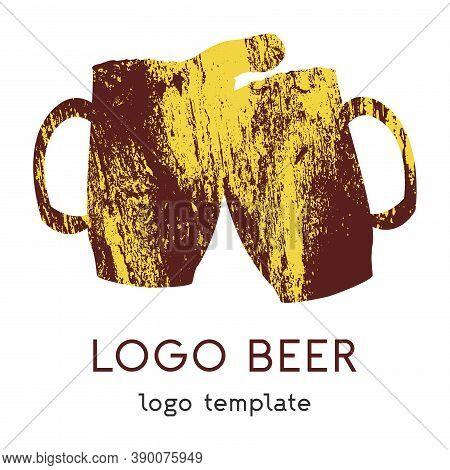 Logo Using Two Beer Mugs. The Icon Of Two Mugs That Clink Glasses With Each Other. It Can Be Used As