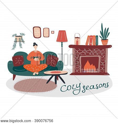 Young Girl Sitting In Comfortable Armchair And Drinking Tea Or Coffee. Room Furnished In Scandinavia