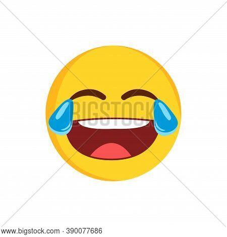 Laughing Emoji Face. Smile Emoji - Vector Illustration