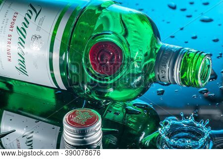 Bedford, Uk, May 16, 2020.tanqueray Is A Brand Of Gin Produced By Diageo Plc And Marketed Worldwide.
