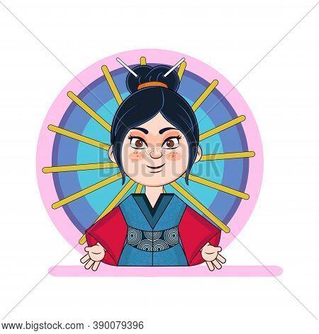 Isolated Asiatic Woman Cartoon. Geisha Image - Vector Illlustration