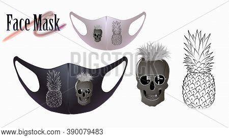 Vector Illustration Of A Skull With Glasses And A Pineapple On A Facial Mask. Beautiful Drawing For