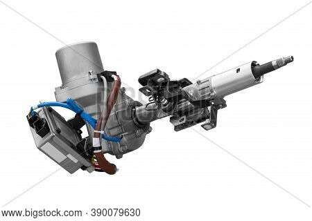 Electric Power Steering Car On A White Background