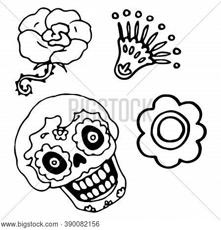 Calavera Skull On White Isolated Backdrop. Santa Muerte Symbol For Invitation Or Gift Card, Notebook
