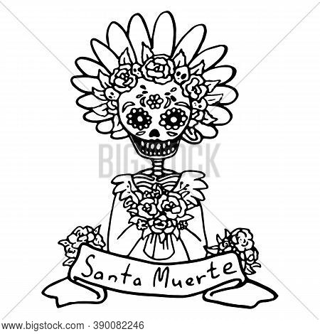 Calavera Woman Skeleton On White Isolated Backdrop. Santa Muerte Text For Invitation Or Gift Card, N