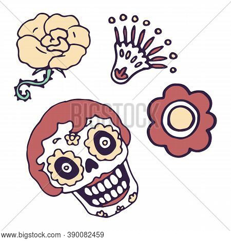 Calavera And Flowers On White Isolated Backdrop. Day Of The Dead Symbol For Invitation Or Gift Card,