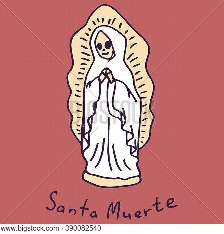 Saint Catrina On White Isolated Backdrop. Santa Muerte Statuette For Invitation Or Gift Card, Notebo