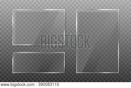 Glass Plate Set On Transparent Background. Realistic Window With Shadow. Isolated Clear Sheet Collec