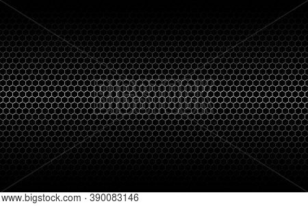 Metal Mesh. Black Hexagon Grid With Shadow And Light. Dark Industrial Backdrop With Cells. Perforate