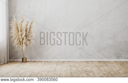 Empty Room With Gray Wall And Wooden Floor, Curtain And Vase With Decorative Dried Grass, Pampas Gra