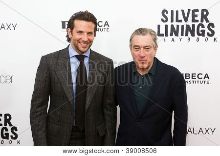 "NEW YORK-NOV 12: Actor Bradley Cooper (L) and Robert DeNiro attend the premiere of ""Silver Linings Playbook"" at the Ziegfeld Theatre on November 12, 2012 in New York City."