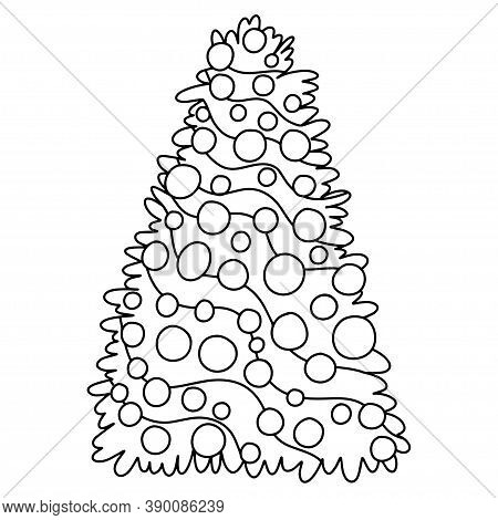 Funny Decorated Christmas Tree Coloring Page For Kids And Adults Stock Vector Illustration. Simple B
