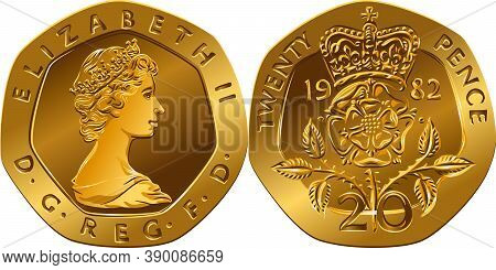 British Money Gold Coin Twenty Pences, Reverse With Segment Of Royal Shield, Obverse With Queen