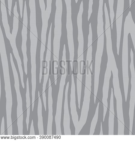 Vector Gray Zebra Stripe Texture Seamless Pattern Background From The Fancy Zebra Collection. A Simp