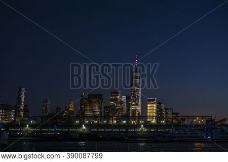 View Of Skyscrapers Along Hudson River In Financial District Of Manhattan. Skyline Of Downtown Manha