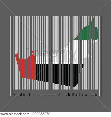 Barcode Set The Shape To Uae Map Outline And The Color Of Uae Flag On Grey Barcode With Dark Grey Ba