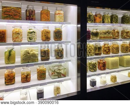 Seoul, South Korea - May 2, 2017: Various Types Of Pickles And Kimchi In Jars Are Displayed At The K