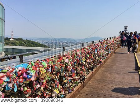 Seoul, South Korea - April 29, 2017:  Fence With Love Locks At N Seoul Tower. Seoul Cityscape In The