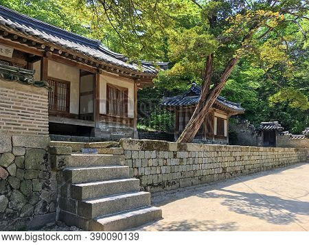 Seoul, South Korea - May 2, 2017: pavilion at the Huwon park (Secret Garden). Changdeokgung palace one of the Five Grand Palaces of the Joseon Dynasty.