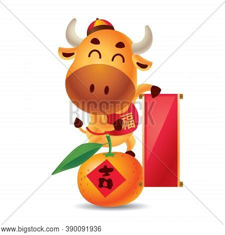 Chinese New Year 2021. Cartoon Cute Ox Holding Empty Big Chinese Scroll Couplet And Standing On Mand