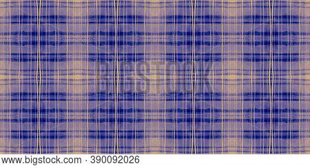 Watercolor Textured Checks. Blue Stripes Material. Scottish Kilt Print. Seamless Buffalo Wallpaper.