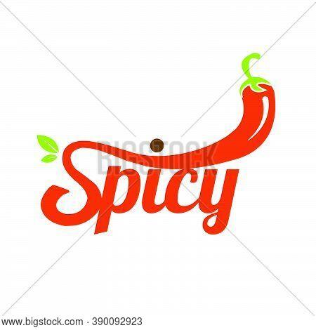 Hot Chilli Spicy Logo Lettering Typography Design Vector Illustration