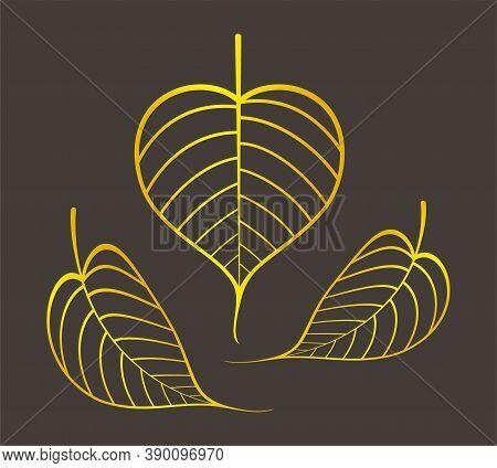 Golden Pho Leaf Graphic, Pho Leaves Gold Color, Pho Leaf Art Line For Buddhist Symbols