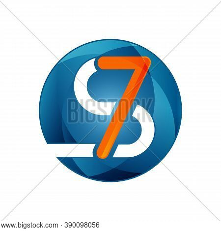 Creative Design Letter S7 In Modern Style For Your Best Business Symbol. Vector Illustration Eps.8 E