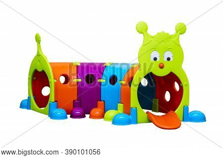 Kids Toy Tunnel Isolated On White Background. Colorful Tunnel Isolated On White Background. Toy For