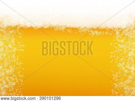 Lager Beer. Background With Craft Splash. Oktoberfest Foam. Restaurant Banner Design. Froth Pint Of