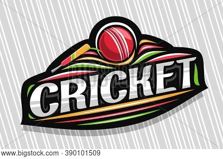 Vector Logo For Cricket Sport, Dark Modern Emblem With Illustration Of Flying Ball In Goal And Bat,
