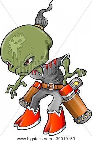 Alien Warrior Bounty Hunter Vector