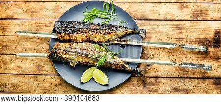 Fish Kebab On Skewers