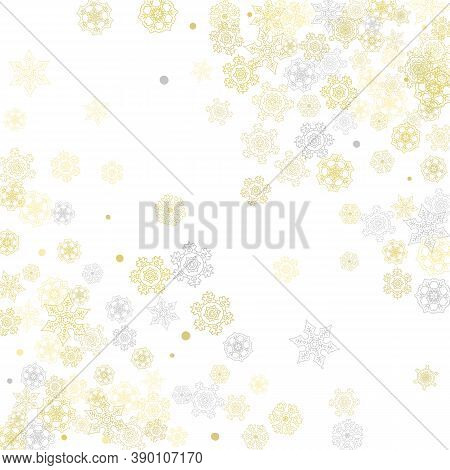 Gold Snowflakes Frame On White Background. New Year Theme. Stylish Shiny Christmas Frame For Holiday