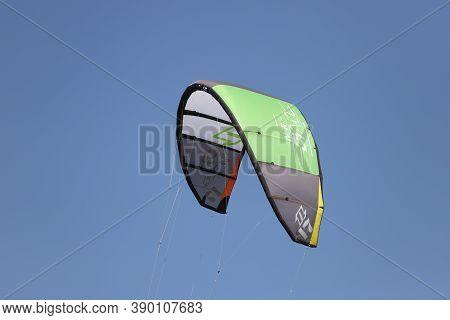 Izmir, Turkey - September 27, 2020: Kitesurfe Parachute In Selcuk Pamucak Beach