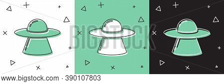 Set Ufo Flying Spaceship Icon Isolated On White And Green, Black Background. Flying Saucer. Alien Sp