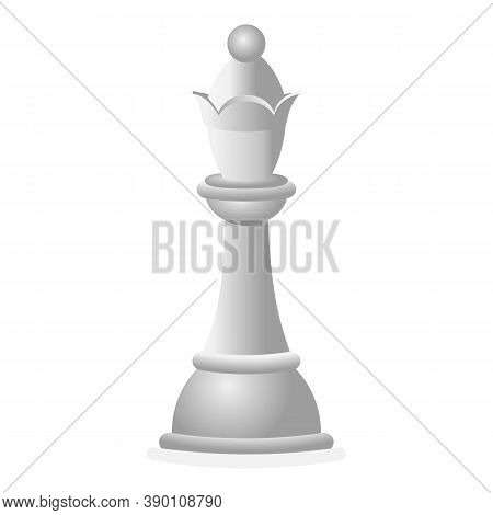 White Chess Queen Icon. Cartoon Of White Chess Queen Vector Icon For Web Design Isolated On White Ba